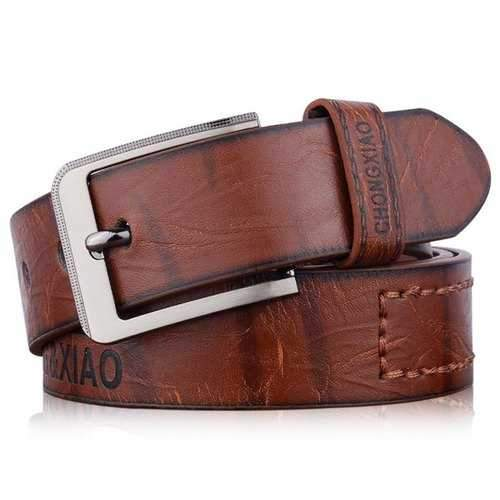 Letters Hot Stamping Faux Leather Belt - Coffee