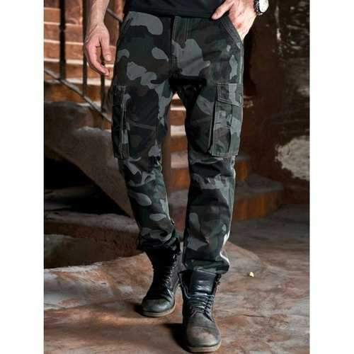 Camo Multi Pockets Drawstring Design Cargo Pants - Green Grey 34