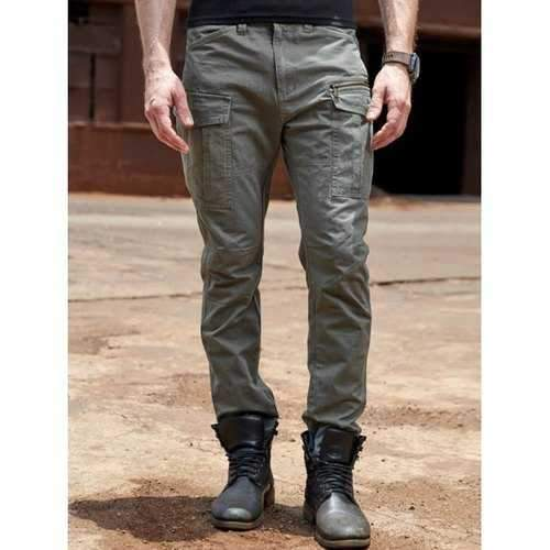 Zipper Pockets Design Cuffed Cargo Pants - Gray 34