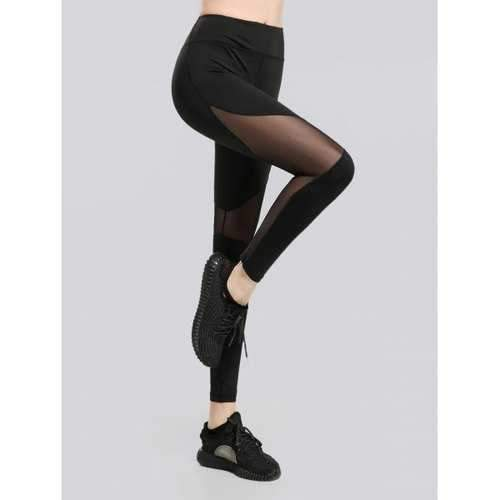See Through Mesh Workout Leggings - Black L