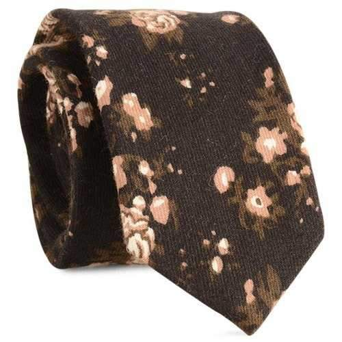 Retro Flowers Printed Cotton Blending Neck Tie - Black