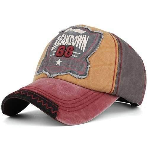Washed Sanding Nostalgic Letters Patchwork Baseball Hat - Coffee