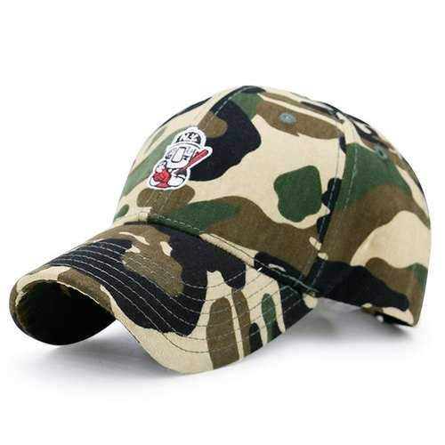Cartoon Figure Embroidery Camouflage Baseball Hat - Acu Camouflage