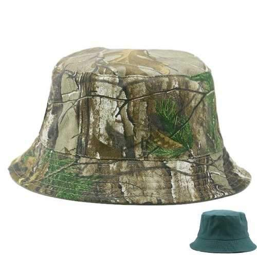 Camo and Solid Color Reversible Bucket Cap - Blackish Green