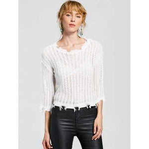Pullover Frayed Hem Knitted Top - White One Size