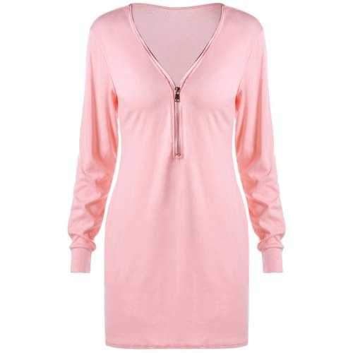 Zipper V Neck Longline Sweatshirt - Light Pink L