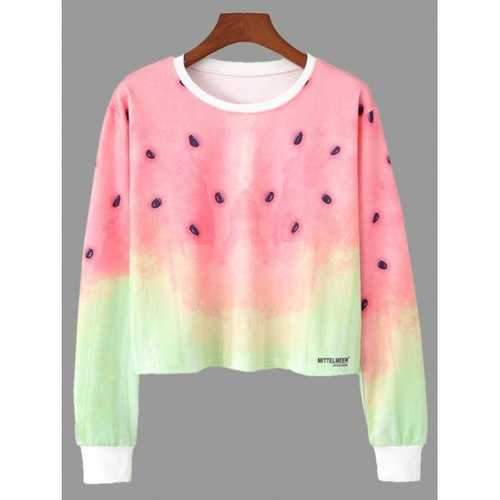 Ombre Color Watermelon Print Cropped Sweatshirt - S