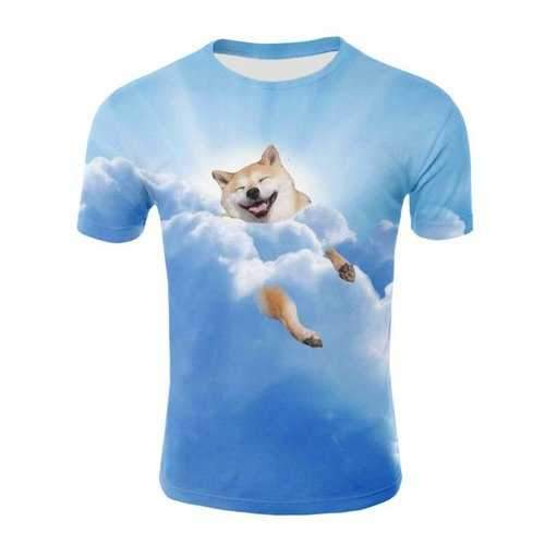 3D Clouds Sky Dog Print Casual T-shirt - Glacial Blue Ice Xl
