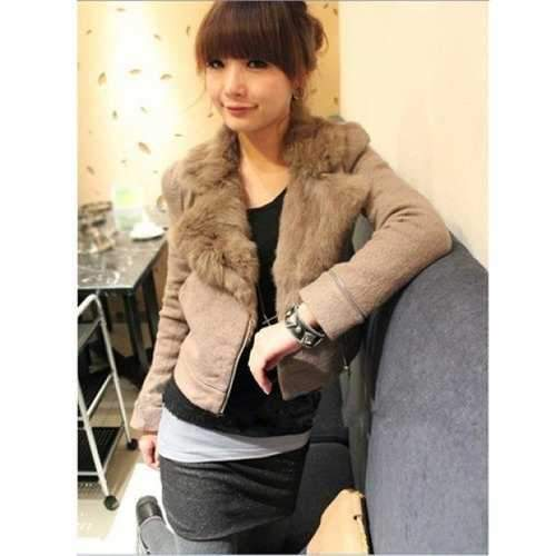 Elegant Zipper Lapel Camel Long Sleeves Coat For Women - Camel One Size