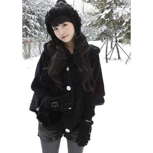 New Autumn and Winter Style Lovely Bat-wing Sleeve Fleece Cloak Coat - Black
