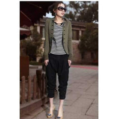 Fashion Style Cool and Decent  Double Row Button Embellish Coat For Female - Army Green Xl