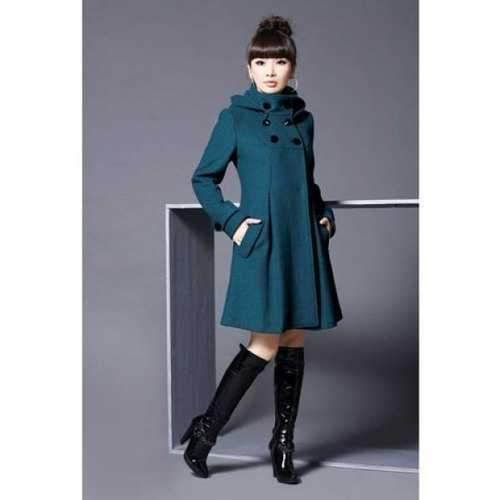 Elegant and Slim Double-Breasted Frills Long Sleeves Worsted Coat For Women