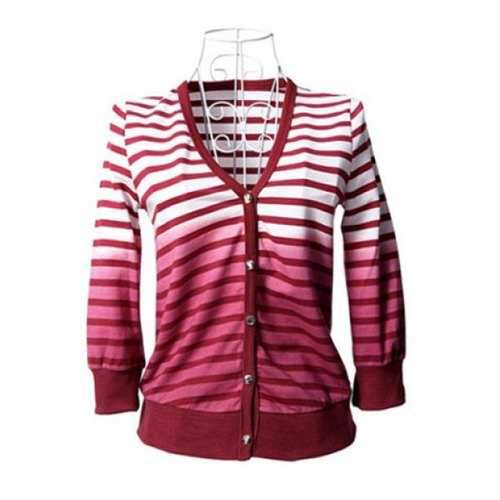 Lovely Strips Cardigan Coat - Red M