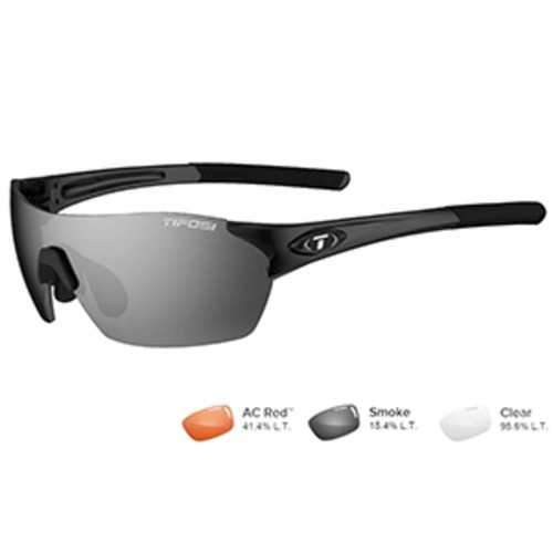 Tifosi Brixen Gloss Black Sunglasses - Smoke/AC Red™/Clear
