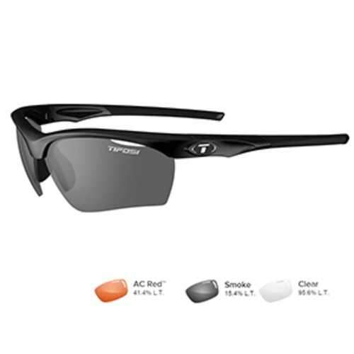 Tifosi Vero Gloss Black Sunglasses - Smoke/AC Red™/Clear
