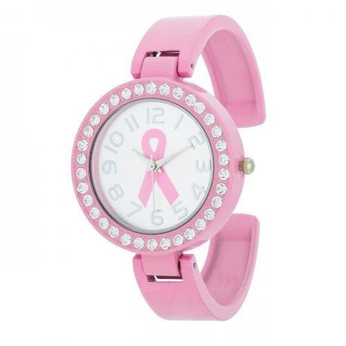 Breast Cancer Awareness Cuff Watch With Crystals (pack of 1 ea)