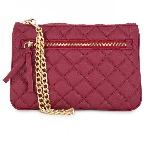 Alexis Red Quilted Faux Leather Clutch With Gold Chain Wristlet (pack of 1 ea)