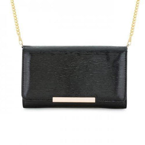 Laney Black Textured Faux Leather Clutch With Gold Chain Strap (pack of 1 ea)