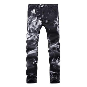 Motorcycle Vintange Wolf Printing Folds High Elastic Slim Ripped Jeans for Men