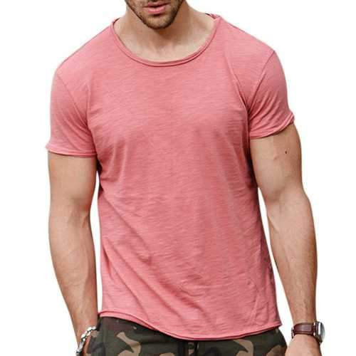 Mens Summer Solid Color O-neck Short Sleeve Casual Cotton T-shirt