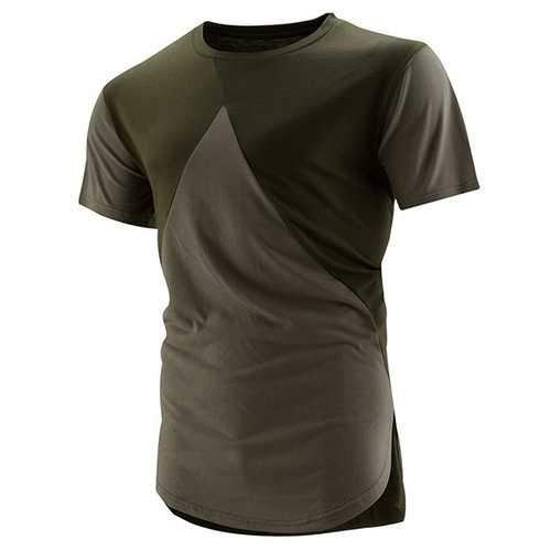 Mens High Street Style Hit Color O-neck Short Sleeve Casual Cotton T-shirt