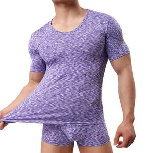 Mens Summer Modal Breathable Perspiration O-neck Short Sleeve Casual Home T-shirt