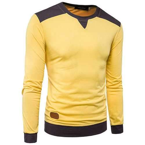 Mens Stylish Hit Color Casual T-shirt O-neck Long Sleeve Cotton Tops