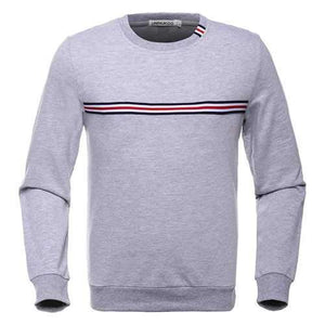 Mens Striped Pattern Round Neck Long Sleeve Casual Cotton Sweatshirt