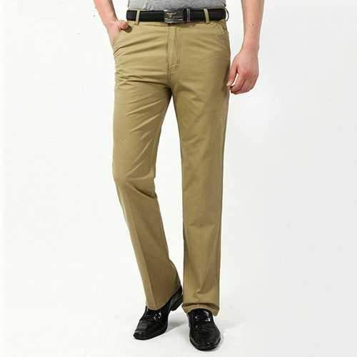100% Cotton Casual Solid Straight-Leg Thin Pants for Men