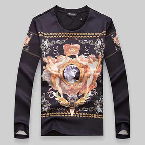 Mens Slim Fit Fashion Printing O-Neck Sweatshirt