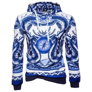 Mens Cotton Blue and White Porcelain Hoodie