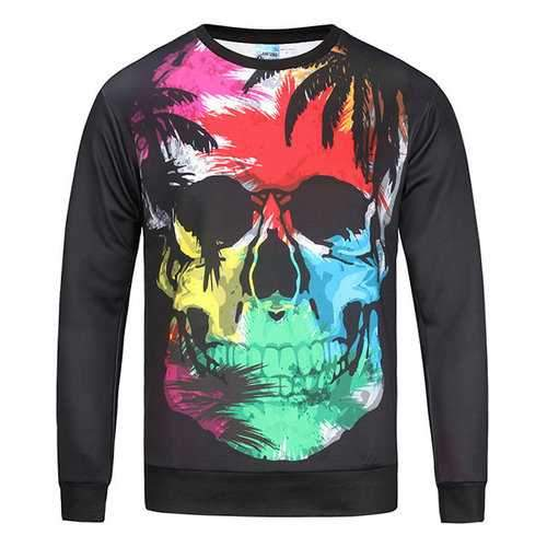 Mens Halloween 3D Colorful Skull Printing T-shirt