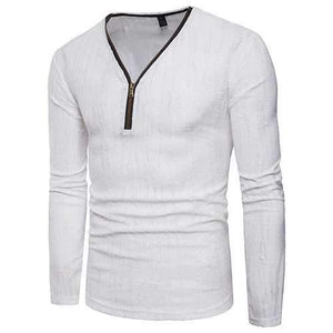 Zipper Half-cardigan Cotton T Shirts