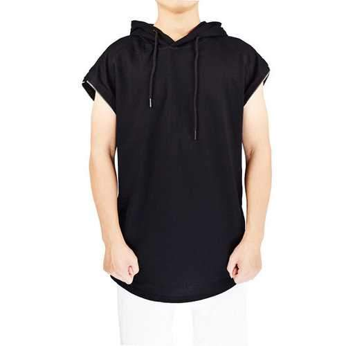 100% Cotton Breathable Zipper Design Hooded T Shirts