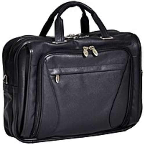 McKleinUSA 15.6 Leather Double Compartment Laptop Briefcase - Shoulder Strap , Hand Strap - 14.1 to 15.4 Screen Support - Leather - Black