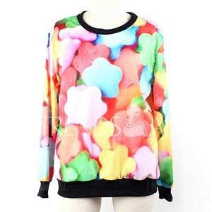 Long Sleeves Round Neck Multicolor Sweetmeats Pattern Print Relaxed Women's Sweatshirt - One Size