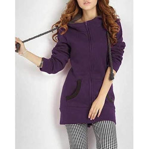 Color Block Hooded Long Sleeves Casual Style Cotton Blend Zipper Women's Hoodie - Purple S