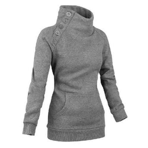 Long Sleeves High Neck Buttons Embellished Pockets Beam Waist Casual Women's Sweatshirt - Gray S