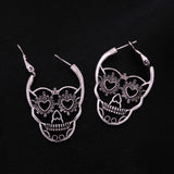 Vintage Silver Love Eyes Skull Hoop Earrings