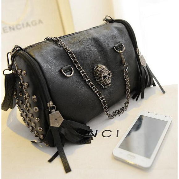 Punk Skull Rivet Shoulder Bag-Velvet Skulls
