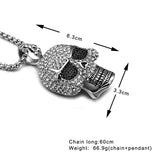 HIP Hop Titanium Stainless Steel Ice Out Bling Full Micro Pave Rhinestone Skeleton Skull Pendant Necklace for Men Jewelry-