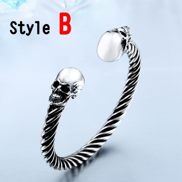 2016 New Cool Punk Skull Bracelet For Man 316 Stainless Steel love Bangle Man's High Quality Jewelry BRG-012-