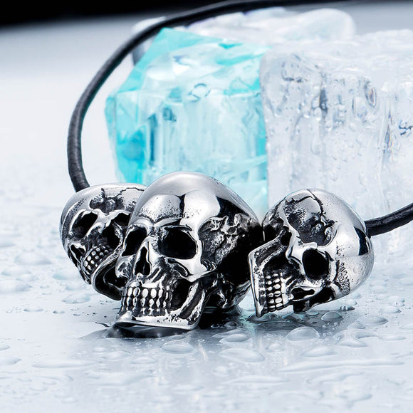 Beier Unique 316L Stainless Steel New Arrival Super Punk Skull Biker Pendant Necklace Fashion charm Jewelry BP8-216-