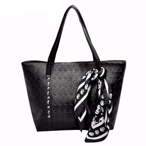 Pu Leather Skulls Large Tote Bag-