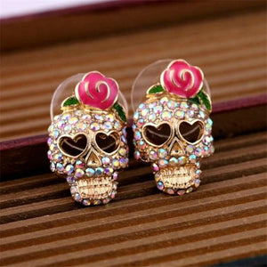 2018 New Arrivals European and American Fashion Roses Skull Head Brincos Oorbellen Colored Crystal Stud Earrings Women Jewelry-