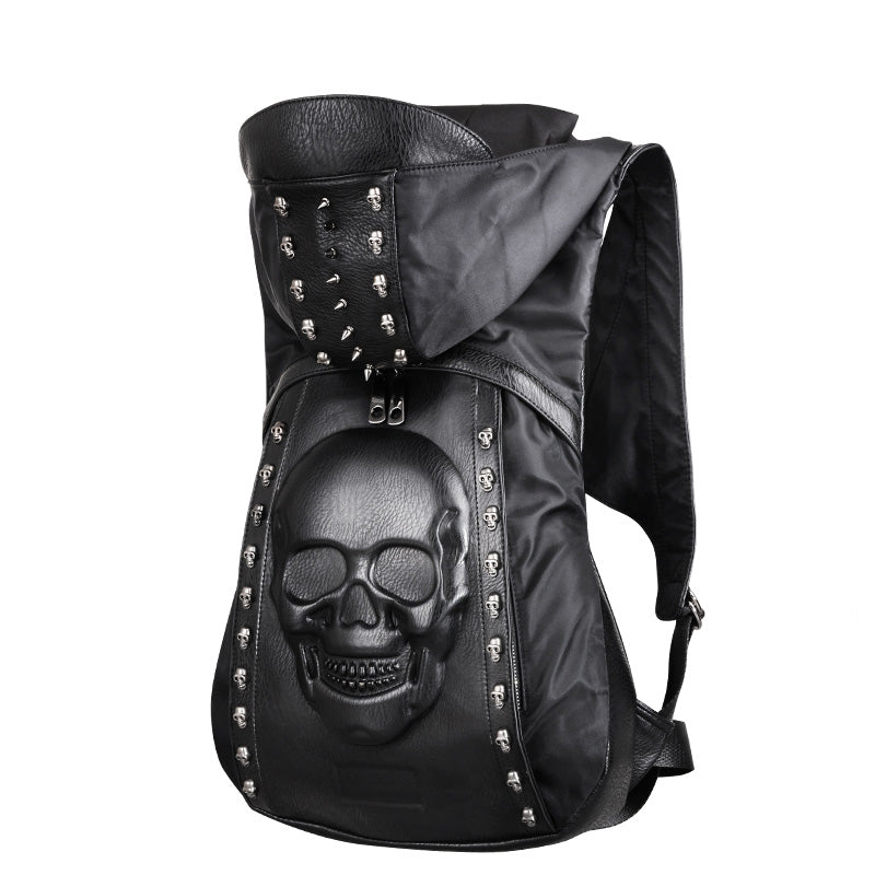 New 2018 3D rivets skull leather backpack