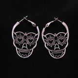 Vintage Antique Silver Color Love Heart Eyes Skull Hoop Earrings for Women Punk Party Skeleton Jewelry pendientes mujer moda-