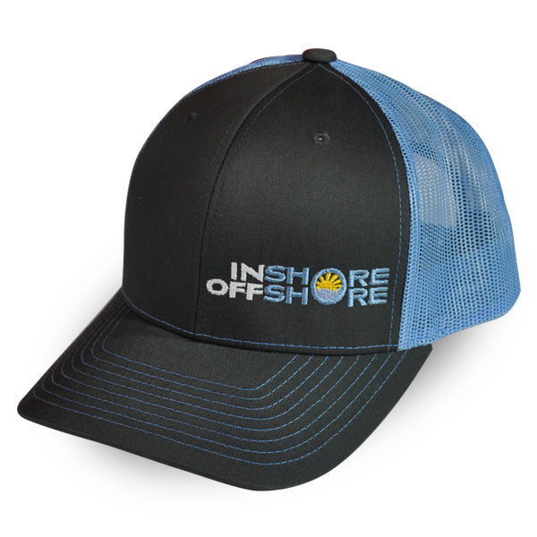 Inshore Offshore Snapback Cap in Charcoal & Blue