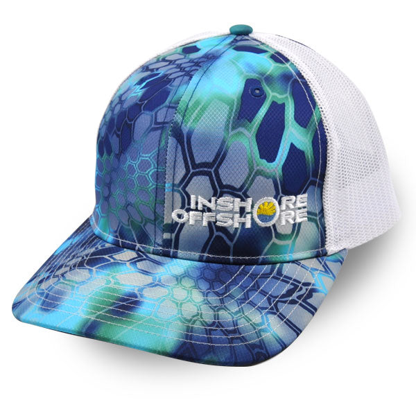 Inshore Offshore Snapback Cap in Blue and White Kryptek