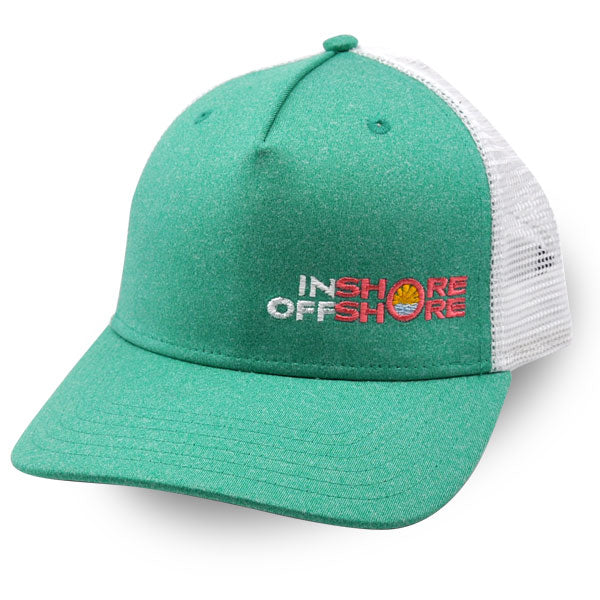 Inshore Offshore Snapback Cap in Seafoam with Coral